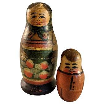 Antique Soviet Union~ 2 piece ~ Matryoshka  Nesting Dolls ~ 3.25 inch wood