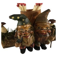 Black Forest Carved Gnomes on Log~ Toadstools, Moss & Toothpick holder