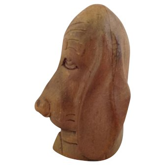 Hound Dog Portrait~ Carved Wood Head~ Folk Art~ Dog~