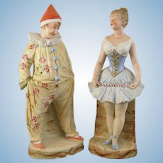 Acrobat and Clown figurines~ Gebruder Heubach bisque  in charming Circus costumes. ~Unusual Pair~