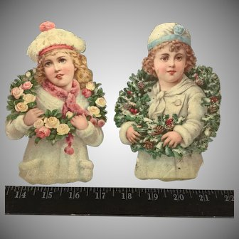 Snow Children~Embossed Victorian Paper scrap~  with glitter and wreaths~ Antique