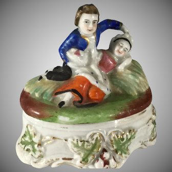 Staffordshire Fairing Trinket box~ Loving Couple in Field
