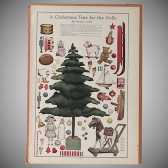 ~A Christmas Tree for the Dolls~ LHJ~ Paper doll Un-cut
