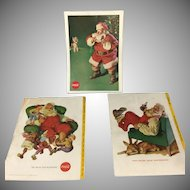 Santa Claus and Coke ~ 3 vintage Ads- ready to Frame