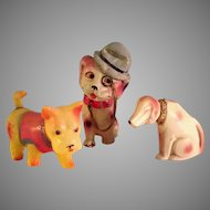Vintage 3 Celluloid Dogs Collection~ Japan~ Keywind  and Nodders circa 1930's