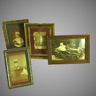 4 Children w/Toys ~ Photos~ Framed Table top Antique