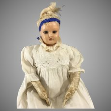 Early Celluloid Shoulder head Doll~ Glass eyes, All original Clothes, Turtle mark