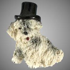 Sheep Dog  4 Dolls~ Top hat ~ fluffy Spaghetti china ~ MIJ