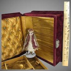 Velvet Jewel Box~ Cranberry & Gold Silk~ for Doll Trousseau