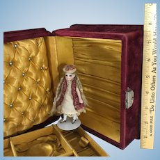 Velvet Jewel Box~ Cranberry & Gold Silk~ for Doll Trousseau