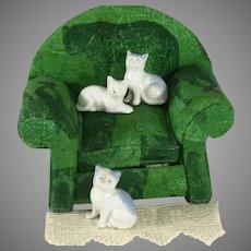 Mini  Cats  Doll house size ~ 3 porcelain