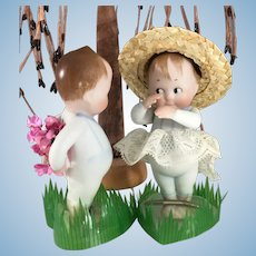 """2 all bisque """"Chubby"""" Googly dolls~ Adorable!!!"""