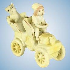 German 'No Snow' baby driving Car w/ dog Rare Antique