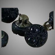 Tiny~Jet Black Glass buttons- 7