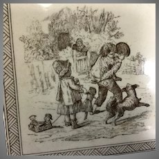 Minton Tile- Children at play with dolls and toys~ circa 1890~ English~ Charming