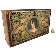 Litho on Wood Sewing Box circa 1900