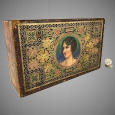 Litho on Wood Sewing Box circa 1900
