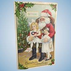 1914~ Santa Postcard Girls with Dolls