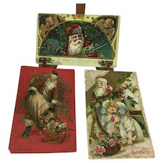 3 Fabulous ~ Antique Santa Postcards!