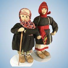 2 Soviet Union women Dolls ~stockingette~ Cloth~Russian~