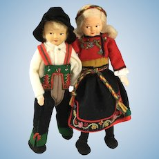 "Ronnaugg Petterssen 7"" Couple~  in original boxes! Doll~ 'Setesdal & Heddal'"