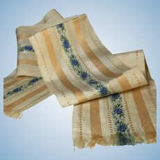Antique Silk Ribbon~  4 inches wide ~Ivory, Gold & Blue Silk