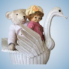 Large Wicker Swan for doll Display