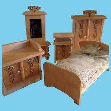 Art Nouveau ~ Doll house Bedroom Set ~Ormalu & wood~