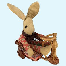 Homemade Calico Funny Bunny on Tricycle~ Folk art~
