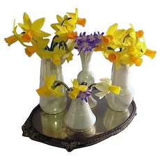 4 Iridescent small vases  on Mirrored Stand ~  Bohemian