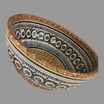 Antique Stone ware Spongeware and Stick decorated Bowl~ Germany