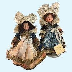 "Au Nain Bleu~ French Celluliod 10"" Bretton Dolls~ 2~  Exquisite costumes"