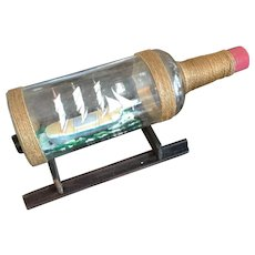 3 Mast Sail boat in a Bottle~With Stand~
