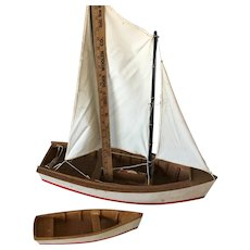 Toy Pond Sail boat ~Wood with dingy and Sails~
