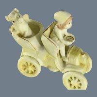 Rare Antique German 'No Snow' baby driving Car with Pug dog