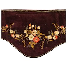 Victorian~ Maroon silk velvet Valance  ~ Sublime!