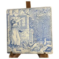 Antique Victorian~ Wedgewood~ Transferware  'months of the year' tile: August.