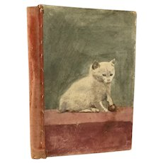 Naive Painted Cat Needle case ~ Charming Antique