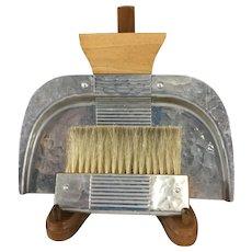 Deco Style Crumb Tray and Brush~ Continental Aluminium & Blonde Wood~ Corduroy Pattern