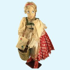 """Ilse Ludecke~ Hungary Doll~ All original~ 15"""" stamped wood base"""