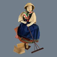 """Ilse Ludecke ~ Cloth Artist Doll~ Italy ~ 16"""" All Original~ Stamped wood base"""