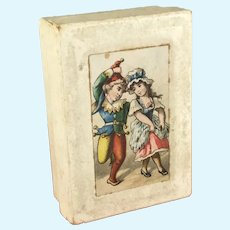 Antique Paper Box~ litho Jester & Maiden~ small