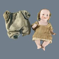 """All Bisque~ Bent Limb~ Baby 4.5""""~ All Original very nice outfit!"""