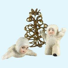 Germany Antique Vintage ~2~ Miniature Snowbabies~  Laying Down & Kneeling