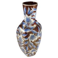 "Victorian Milk Glass Vase~ Hand Painted~  Blue, Burgundy and Gold Vase~ 10.5"""
