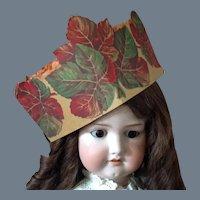 Vintage Halloween Harvest Crepe Paper Hat with Honey Comb Crown ~