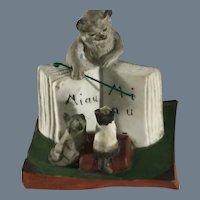 """German Bisque~ """"Meow"""" School ~ Bisque Cat Figurine"""