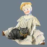 Spelter Metal~ Painted Cat~  with Green eyes- Doll size