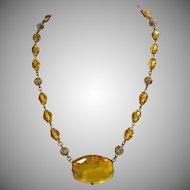 Czech Brass Filigree and Golden Glass Bead Necklace
