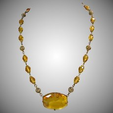 Czech Brass Filigree and Golden Glass Bead Necklace